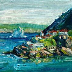 iceberg at Fort Amherst. Mini oil painting by Irene Duma. x oil painting on gallery wrap canvas/. Side Pony, Newfoundland And Labrador, Mini Paintings, Canadian Artists, Affordable Art, Oil Painting On Canvas, Lovers Art, Fine Art, Gallery