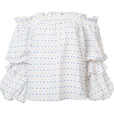 Caroline Constas Polka Dots Off-the-Shoulder Blouse ($385) ❤ liked on Polyvore featuring tops, blouses, jet, kirna zabete, kzloves, ready, set, white off the shoulder top, dot top and white polka dot blouse