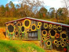 doesn't get much happier than this! Sunflowers everywhere in beautiful Bat Cave which is Around Lake Lure -It doesn't get much happier than this! Sunflowers everywhere in beautiful Bat Cave which is Around Lake Lure - Sunflower Garden, Sunflower Art, Flowers Garden, Garden Mural, Sunflowers And Daisies, Lake Lure, Barn Art, Fence Art, Happy Flowers