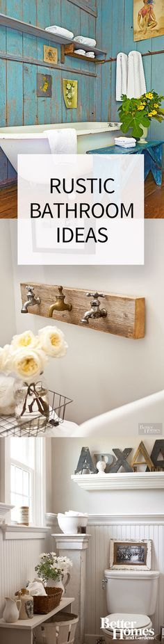 Small and large bathrooms alike can benefit from these rustic bathroom ideas. Even if you're decorating on a budget, these country-inspired spaces can inspire you to DIY the relaxing bathroom of your dreams.