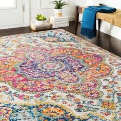 Shop for Porch & Den Highpoint Vintage Boho Pink Medallion Area Rug - x Get free delivery On EVERYTHING* Overstock - Your Online Home Decor Store! Get in rewards with Club O! Tapete Floral, Synthetic Rugs, Area Rugs For Sale, Boho Living Room, Boho Room, Bohemian Living, Living Spaces, Bohemian Rug, Mellow Yellow