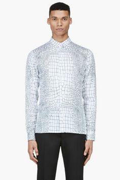 KRISVANASSCHE SSENSE EXCLUSIVE White All-Over Crocodile Print Shirt