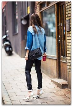 Denim shirt, black leather pants and heels