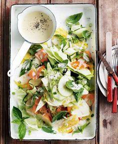 Donna Hay's Spring Slaw (Salad:  Carrots, Apples, Zucchini, white cabbage, basil leaves, pineapple, green onions, sea salt & black pepper.  Dressing:  Hot English mustard, white balsamic vinegar, mayonnaise & super fine sugar.) - blog.domaneonline.com.au