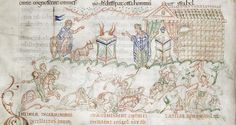 Detail of a pen drawing illustrating Psalm 53 in the Harley Psalter Anglo-Saxon, England, 11th century