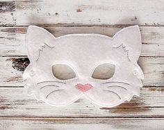 Kids Cat Mask - Felt Mask - Kitty - White - Costume - Dress Up - Halloween - Pretend Play