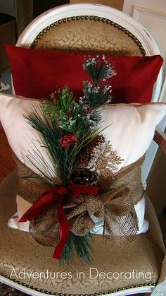 Christmas - pillow - Love the burlap wrap with pick