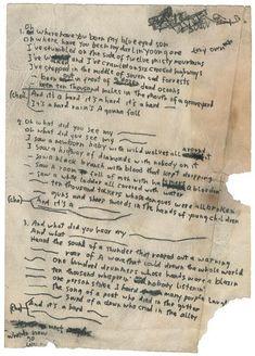 Bob Dylan's original lyrics for A Hard Rain's a-Gonna Fall, 1962