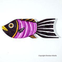 Fish Decor Painted Wood Purple Folk Art by TaylorArts on Etsy, $60.00