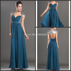 2014 New Arrival Sweetheart Porcelana Turquoise A-Line Floor-Length Long Chiffon Formal Sequins Back Keyhole Evening Dresses $129.00