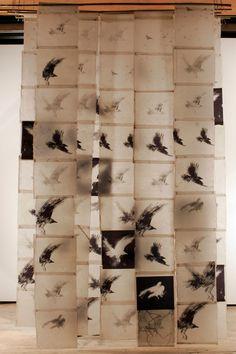 Bird Screen II, Catherine Eaton Skinner, Tibetan Paper/Archival Ink/Encaustic/Thread/Bamboo I like the materials, not the birds Instalation Art, Encaustic Art, Art Plastique, Bird Art, Oeuvre D'art, Textile Art, Sculpture Art, Fiber Art, Contemporary Art
