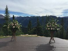 Ceremony on the wedding deck! www.aspenbranch.com
