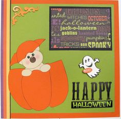 Halloween Scrapbook Pages  paper piecing  Premade  by SWAKScrappin, $9.99