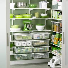 Pantry: (like mine, this one is painted apple green); looks like Container Store's Elfa system