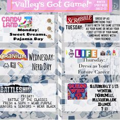 """Board Game spirit week theme with a """"Guess Who?"""" Masquerade dance Spirit Week Themes, Spirit Day Ideas, Spirit Weeks, School Spirit Days, Homecoming Spirit Week, High School Homecoming, Homecoming Ideas, Homecoming Floats, Football Homecoming"""