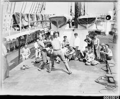 Crew of the four-masted steel barque MAGDALENE VINNEN in a #boxing match