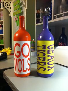 SEC wine bottle decor. But in Alabama, of course!!