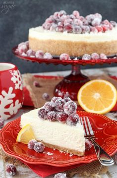 No Bake Sparkling Cranberry Orange Cheesecake - the perfect dessert for Thanksgiving and Christmas!