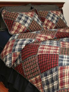 No pattern was given for this quilt made from old flannel shirts.  I've had this idea for a long time but never put it together.  I think I'll make a trip to the thrift shops this weekend (my husband is still using his flannels)!