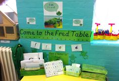 Read write inc display board and Fred (Fred fingers help children segment and blend words onto their fingers and recombine again to spell a word) Phonics Display, Literacy Display, Teaching Displays, Reading Display, School Displays, Classroom Displays, Phonics Activities, Language Activities, Read Write Inc Phonics