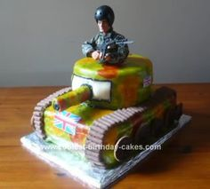 Homemade Army Tank Birthday Cake: I made this Army Tank Birthday Cake for Ben's 6th birthday. It's a simple jam and cream sponge cake iced over and then camoed by painting food coloring.