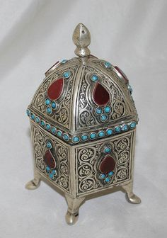 Islamic Antique Box Canister Silver Plated Tea Caddy Tunisia circa 1920s