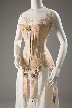 Corset & Chemise: ca. 1905, floral-brocaded silk, silk ribbon, elastic; chemise - cotton, silk ribbon.