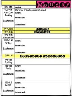 FREE DAILY LESSON PLAN TEMPLATE EDITABLE -