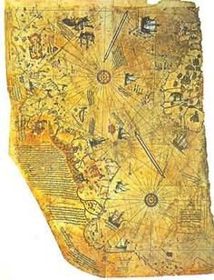 In a group of historians found an amazing map drawn on a gazelle skin. The map shows the western coast of Africa, the eastern coast of South America, and the northern coast of Antarctica. The northern coastline of Antarctica is perfectly detailed. Vintage Maps, Antique Maps, Ancient Aliens, Ancient History, Piri Reis Map, Objets Antiques, Map Globe, Old Maps, Ancient Artifacts