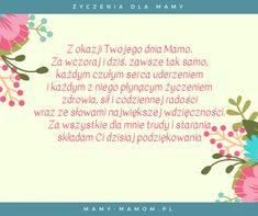 Życzenia dla Mamy - wierszyki na Dzień Mamy - Mamy-mamom.pl Gifts For Kids, Gifts For Her, Preschool, T Shirts For Women, Quotes, Handmade, Toast, Humor, Mother's Day