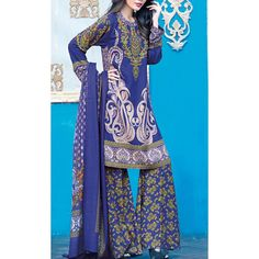 Blue Printed Linen Dress Contact: (702) 751-3523  Email: info@pakrobe.com  Skype: PakRobe