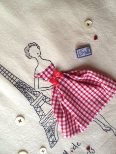 Retro Embroidery Ideas Paris French Fashion Retro Chic by PetiteSourisStudio - Vintage Embroidery, Embroidery Applique, Cross Stitch Embroidery, Embroidery Patterns, Machine Embroidery, Art Patterns, Embroidery Fashion, Fabric Art, Fabric Crafts