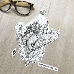 Harry Potter Hogwarts owl tattoo design - get the full Harry Potter collection w. - Harry Potter Hogwarts owl tattoo design – get the full Harry Potter collection with 68 dotwork de - Hery Potter, Harry Potter Owl, Harry Potter Drawings, Harry Potter Hogwarts, Owl Tattoo Design, Tattoo Designs, Hedwig Tattoo, Hp Tattoo, Tattoo Owl