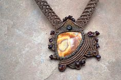 Abstract Macrame Necklace/ Cream/ Copper Onyx/ Macrame Jewelry/ Healing Stone/ Statement Necklace/ Natural Jewelry