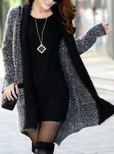 Cozy Grey and Black Color Block Pockets Slimming Long Sleeve Women's Longline Knit Sweater Cardigan