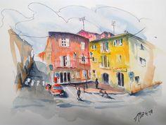 Mondovì, Piazza Concordia (graphite, ink and watercolor, cm 38x28)