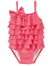 Janie and Jack Ruffle Tiered Pindot Swimsuit in wild rose dot Cute Baby Girl, Girly Girl, Baby Love, Cute Babies, Baby Kids, My Little Girl, My Girl, Ruffle Swimsuit, Cute Swimsuits