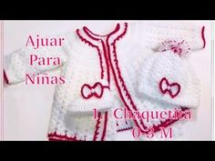 Ajuar para bebé: Como tejer Saquito o Chaquetita para niñas en gancho (0-6M) - Crochet for Baby #167 - YouTube Knitting Videos, Crochet Videos, Baby Staff, Crochet Baby Booties, Crochet For Kids, Crochet Clothes, Little Ones, Crochet Patterns, Baby Shower