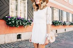 Summer outfit with the prettiest white dress and a straw hat - Anna Pauliina, Arctic Vanilla blog.