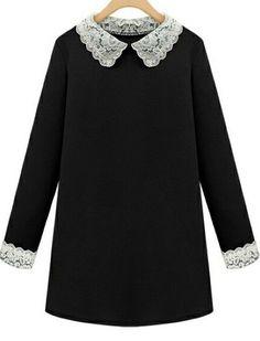 Vestido combinado solapa encaje-negro 13.80