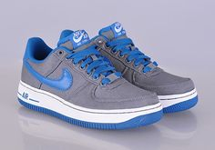 cf15172cdb0c Nike Air Force 1 Low Canvas GS - Cool Grey - Military Blue - SneakerNews.com