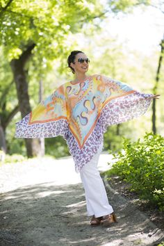 The summer kaftan - 100% silk Habotai, hand painted