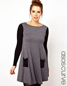 Enlarge ASOS CURVE Exclusive Swing Dress In Color Block