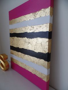 Kate Spade Inspired Acrylic Painting Canvas Pink, white, black, gold leaf, preppy, trendy, fashion decor, stylish wall art, glam, dorm decor