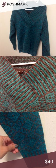 Gray and blue wool pullover sweater In mint condition gorgeous sweater. 100% Shetland wool. Cesarani Sweaters V-Necks