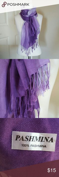"❄️Purple hombre pashmina Hues of purple lengthwise from lavender to grape. Braided and knotted fringe along the hem. 68"" x 27"" Never worn, brand new without tags. Excellent condition. Accessories Scarves & Wraps"