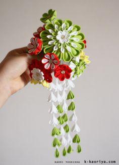 成人式の髪飾り。「大輪に蝶」(つまみ細工 成人式 かんざし 振袖に合わせて 和装 結婚式)|KYOTO 加織屋のブログ 京都のつまみ細工 髪飾り かんざし…