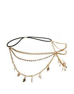 Diadema elástica con cadenas con adornos de hojas de River Island