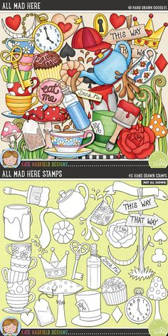 Alice in Wonderland digital scrapbooking elements   Cute wonderland clip art   Hand-drawn illustrations for digital scrapbooking, crafting and teaching resources from Kate Hadfield Designs! Click through to see projects created using these illustrations!