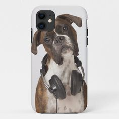 boxer dog with headphones iPhone 11 case - tap, personalize, buy right now! #iPhone11case #confusion #humor #vertical #studio #shot